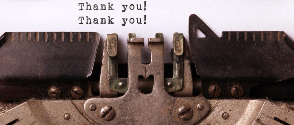 Thank you with typewriter
